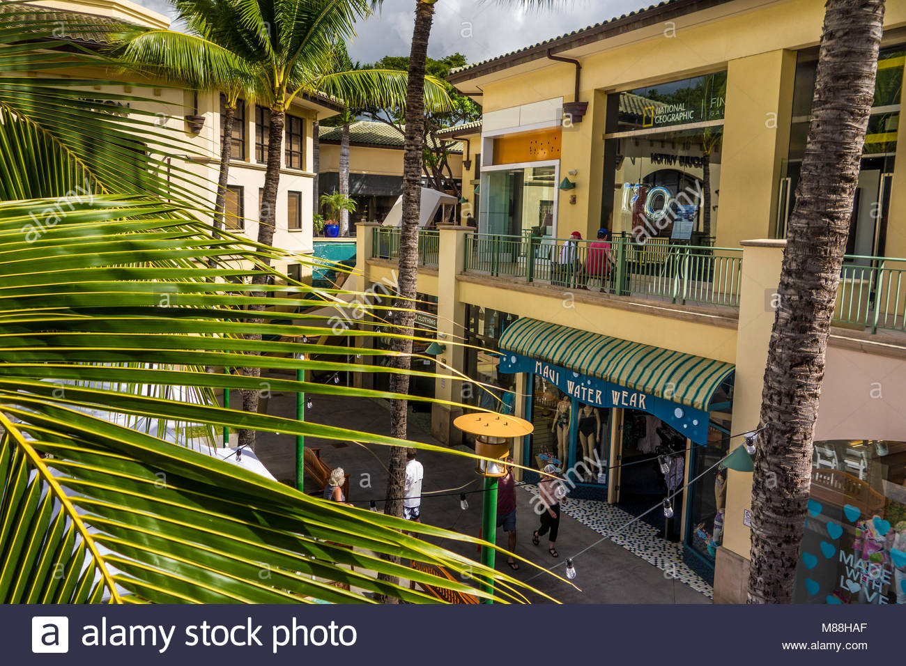 Shops at Wailea luxury shopping at Wailea on the island of Maui in the State of Hawaii USA - Stock Image