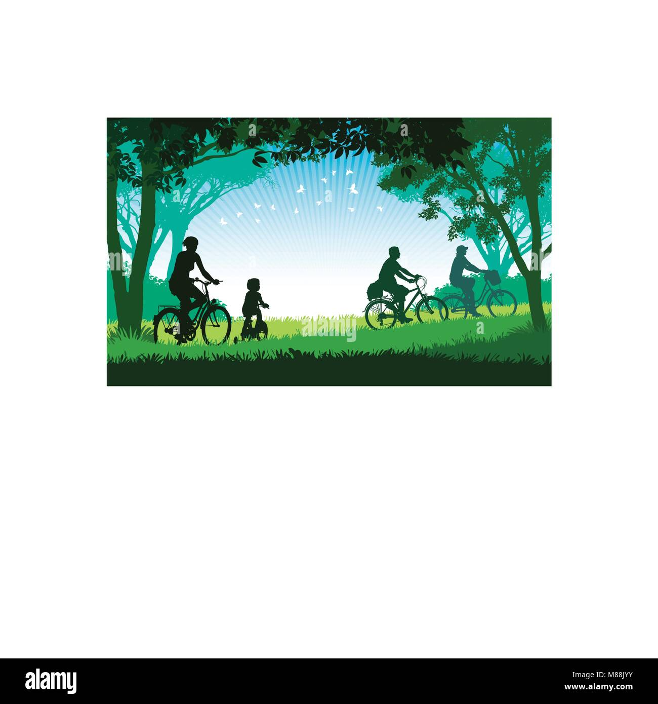 Illustration of a happy family cycling on a summer trip in the park. - Stock Image