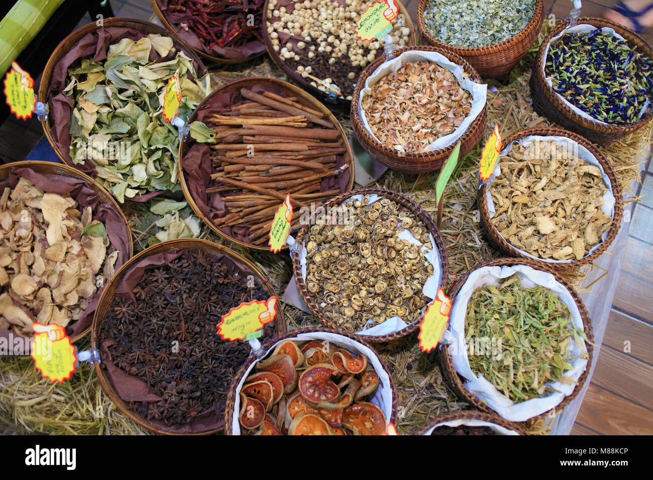 Thailand; Chiang Mai, herbs and spices, shop, - Stock Image