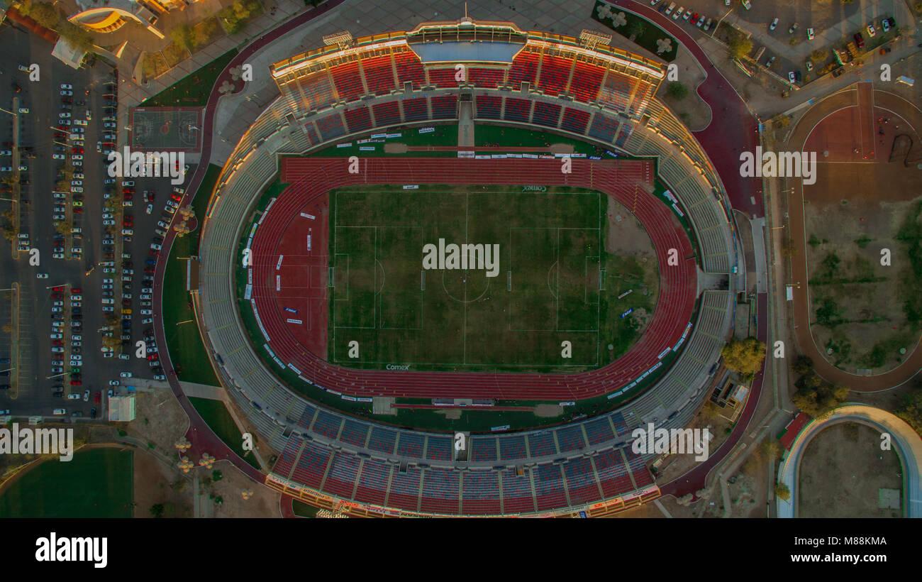 Aerial view of the soccer field and athletics track of the Heroe de Nacozari stadium, home of Cimarrones de Sonora - Stock Image