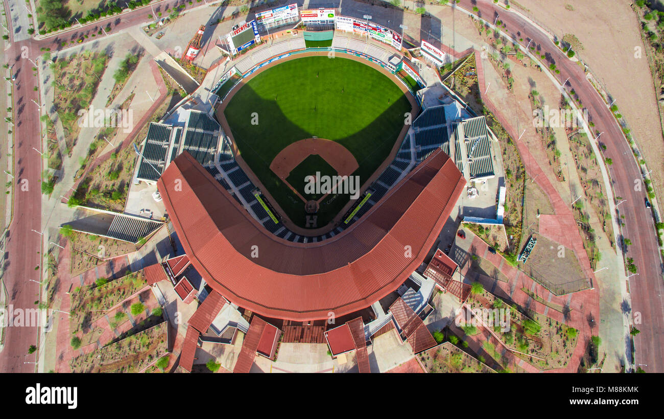 Aerial view of the Sonora stadium and diamond of the playing field, home of the baseball team los Naranjeros de - Stock Image