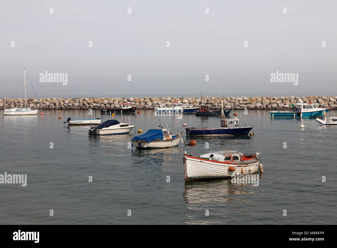 Small boats at Rhos-on-sea Stock Photo