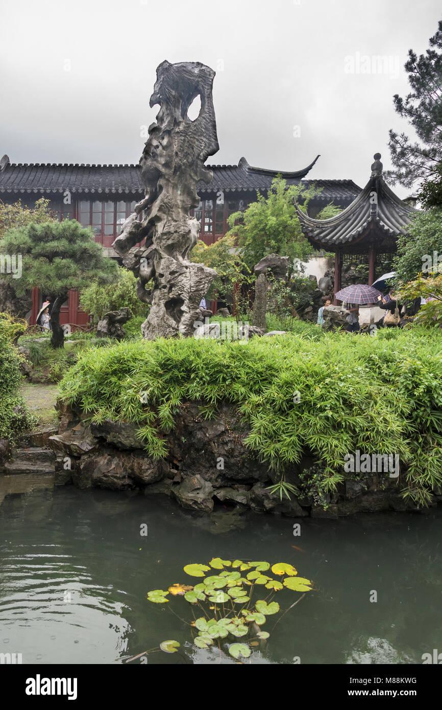 Auspicious cloud-capped peak, Scholar Stone, 1876, Liu Yuan Classical Garden, Suzhou, China - Stock Image