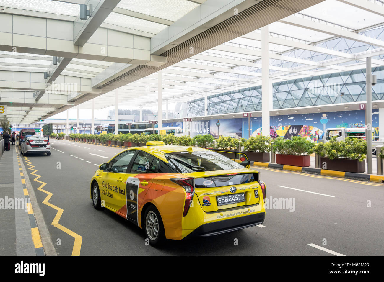 Departures level at Terminal 2, Singapore Changi Airport, Changi, Singapore Island, Singapore - Stock Image