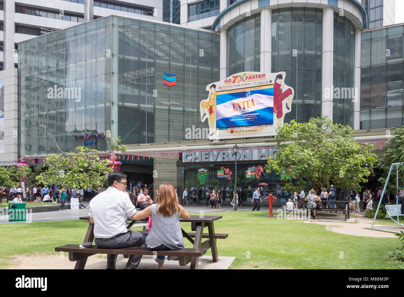 Central square of Raffles Place, Downtown Core, Central Area, Singapore Island (Pulau Ujong), Singapore - Stock Image