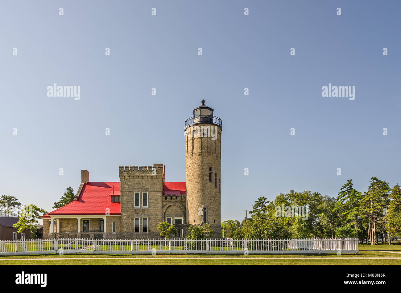 Old Mackinac Point Lighthouse first had its light displayed on October 25, 1892.  It was in operation until 1958. Stock Photo