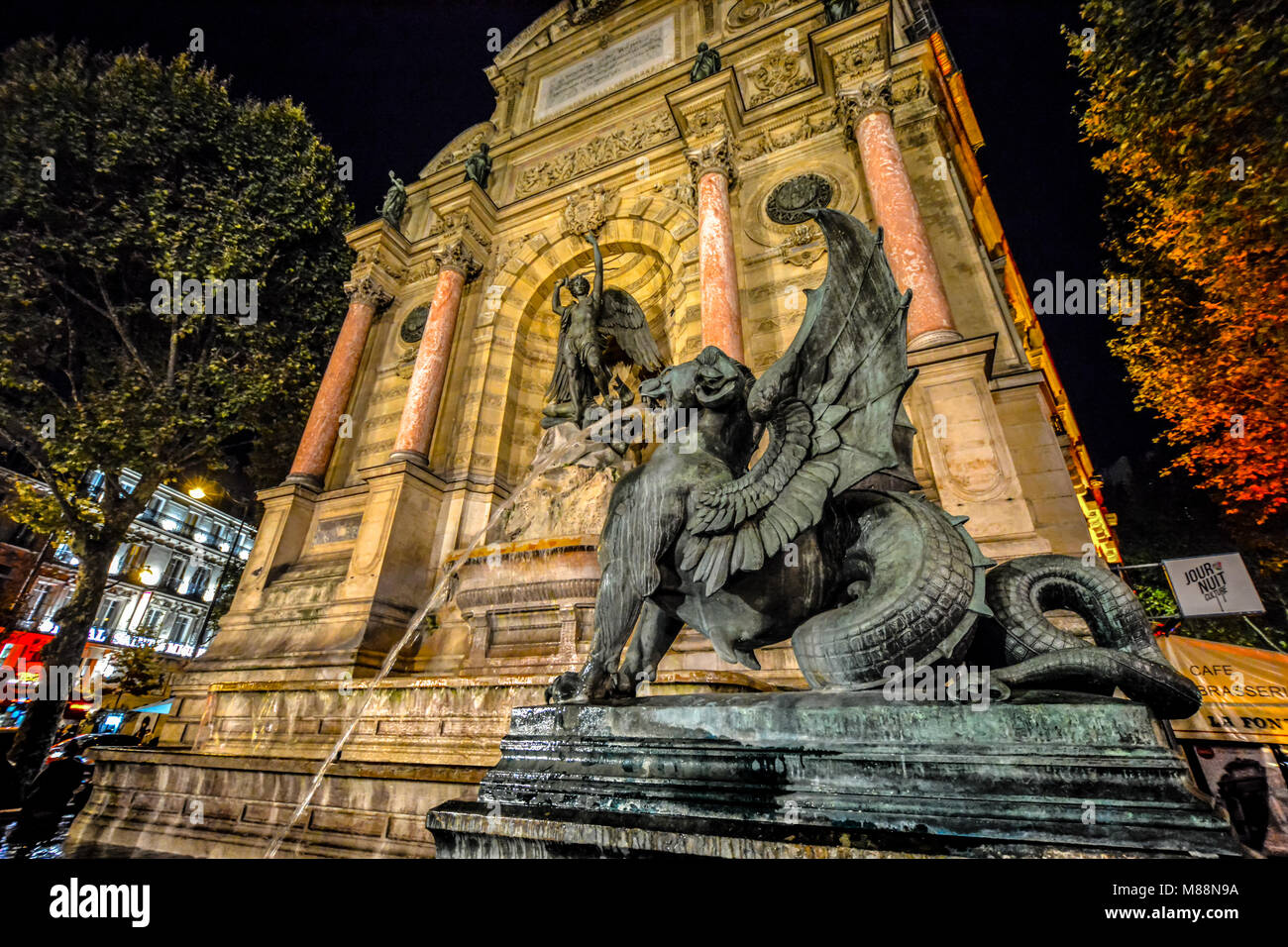 Place Saint-Michel in the 5th arrondissement, Paris France with the Fontaine Saint-Michel fountain and winged dragon - Stock Image