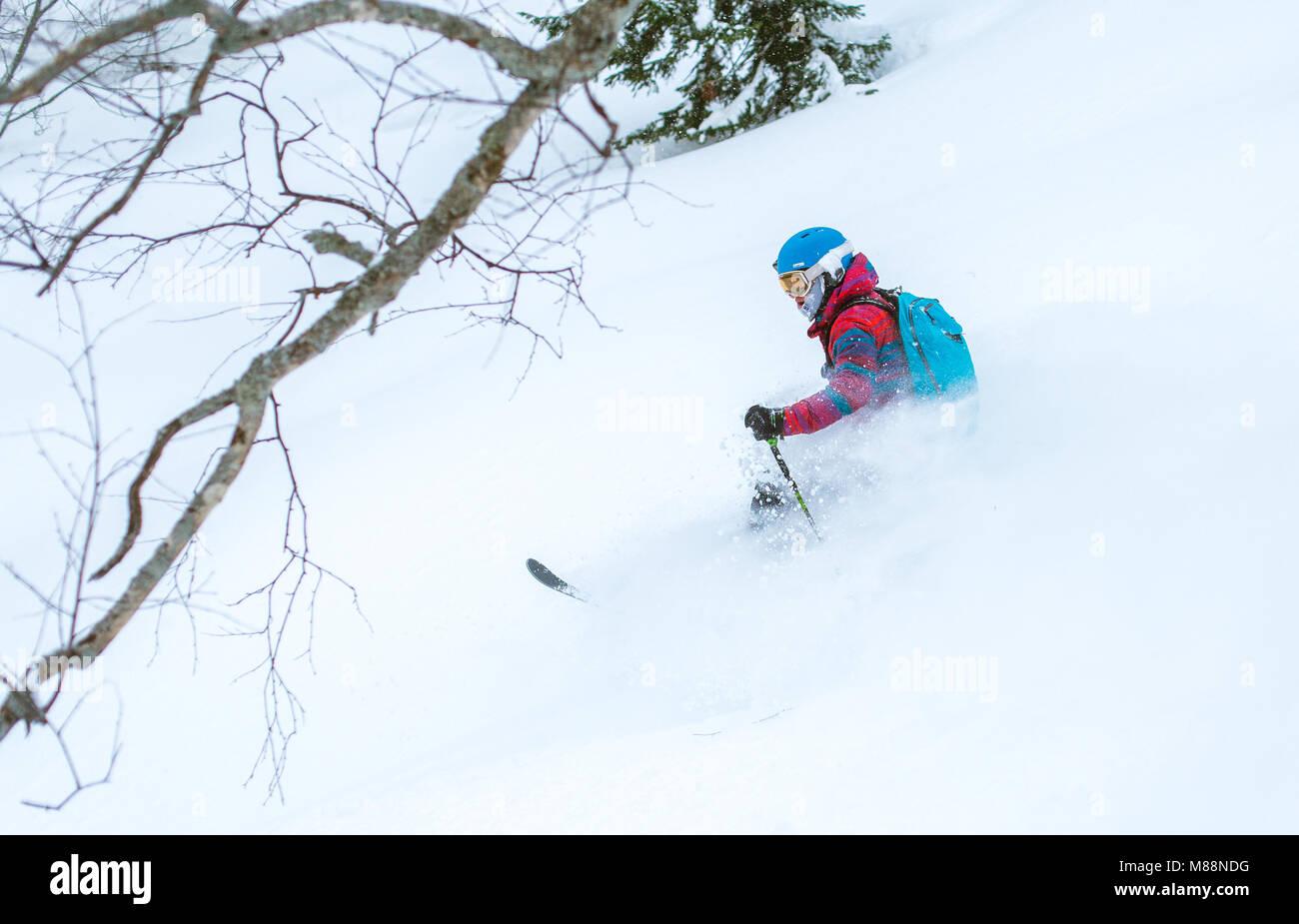 Happy skiing day in powder. Trans Ili Alatau mountains. Almaty region. Kazakhstan. - Stock Image