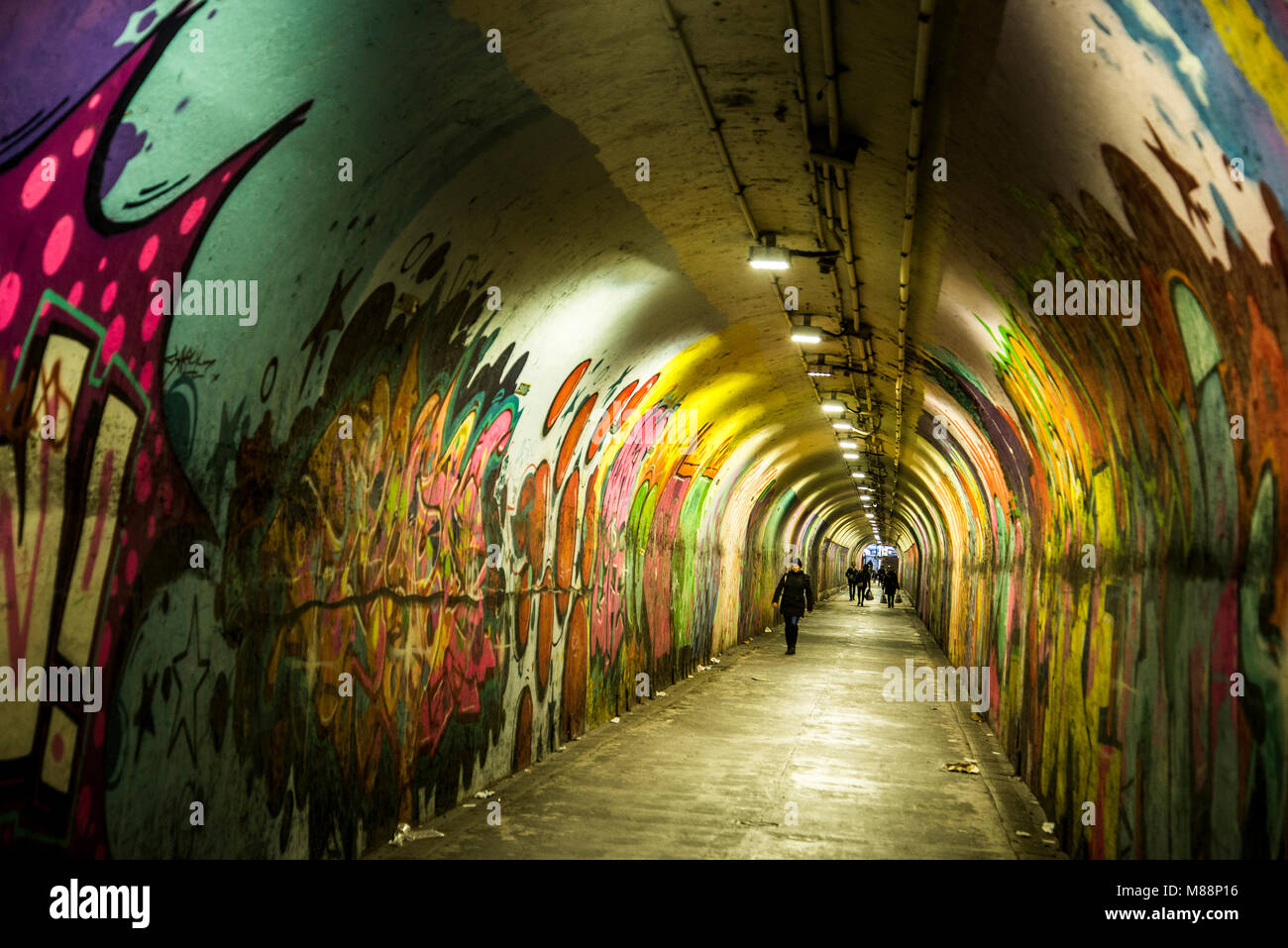 New York subway tunnel filled with graffiti - Stock Image