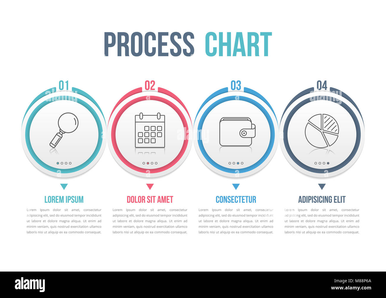 Process diagram template with circles, flowchart or workflow with ...