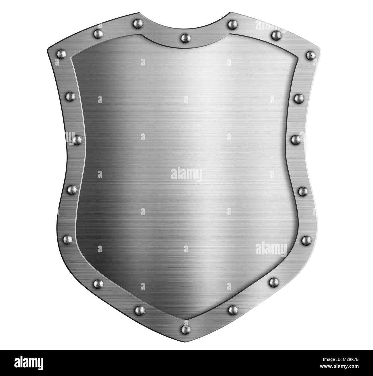 Metal tall classical shield isolated 3d illustration - Stock Image