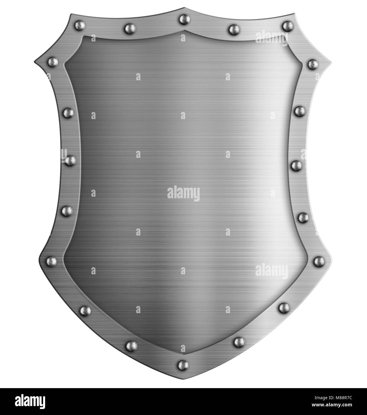 Metal medieval tall shield isolated 3d illustration - Stock Image
