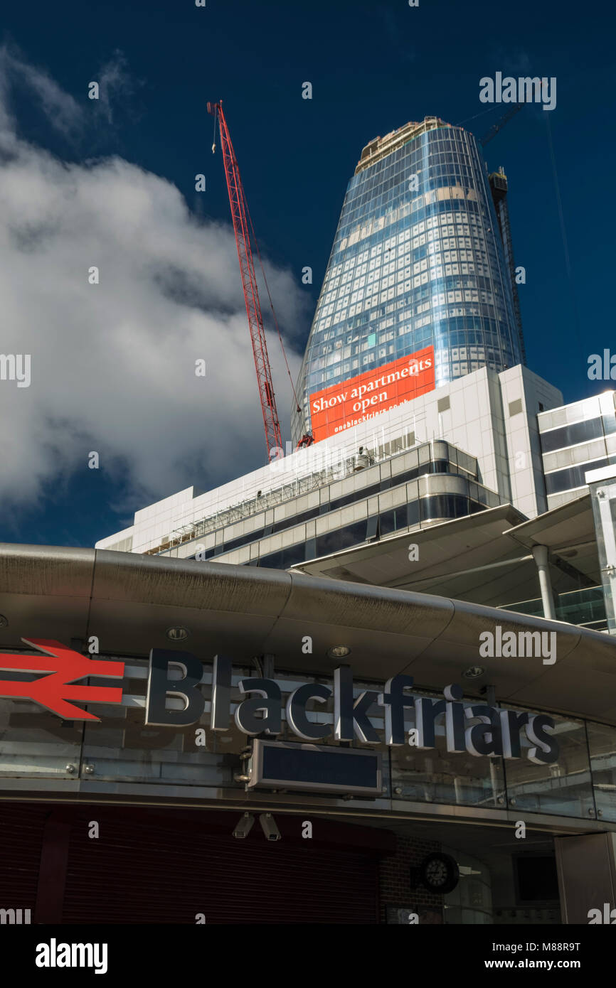 One Blackfriars seen under construction in August 2017. Shot from in front of Blackfriars Station on a sunny day Stock Photo