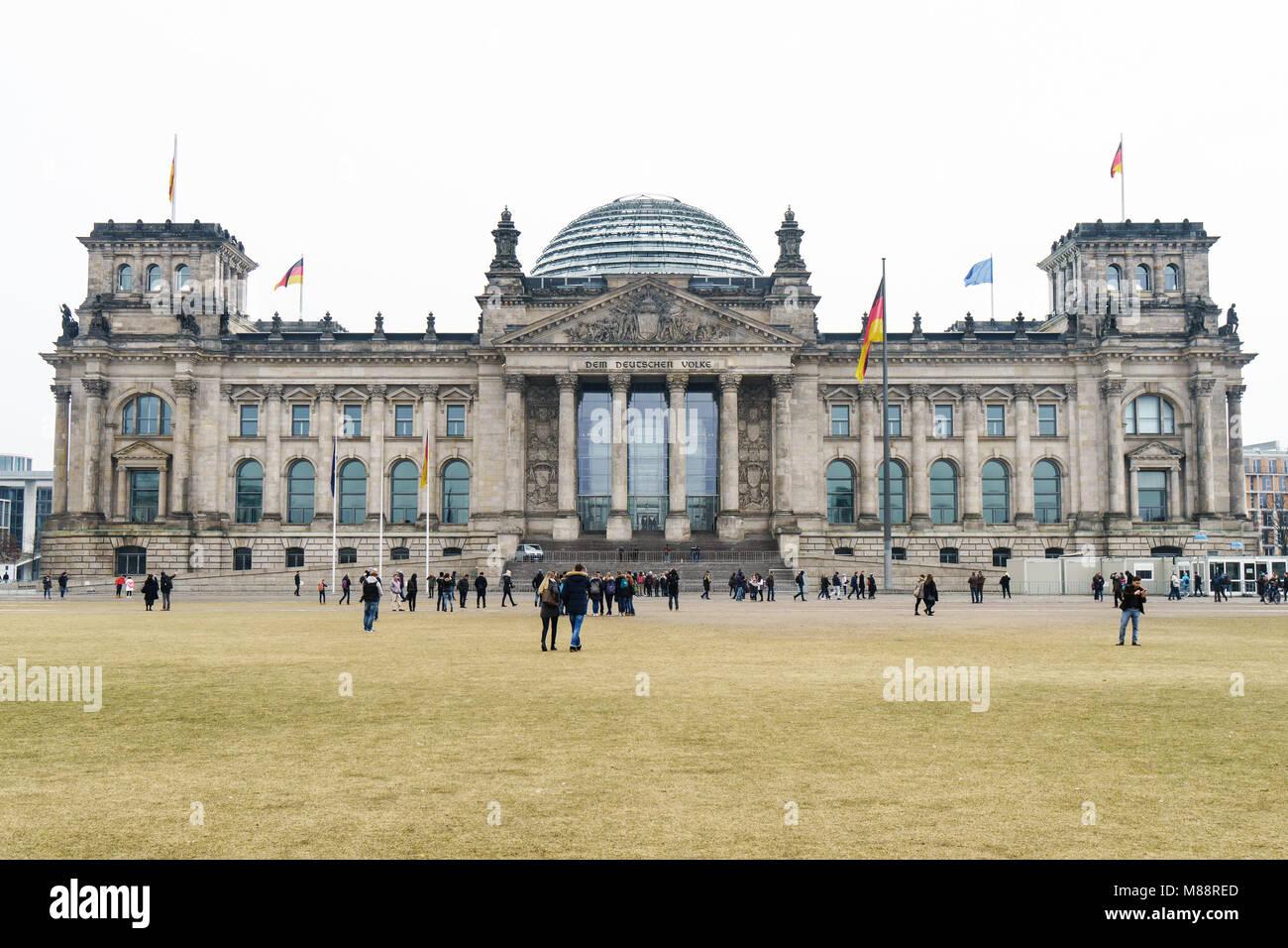 Bundestag german federal parliament building in Berlin Germany - Stock Image