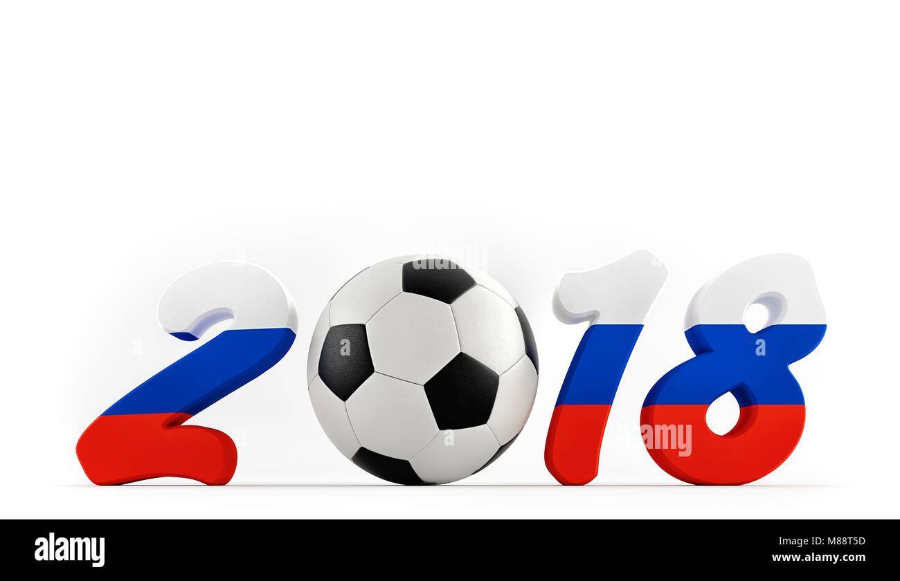 2018 in russian flag colors on a soccer field. A soccer ball representing the 0 in 2018. 3D Rendering - Stock Image