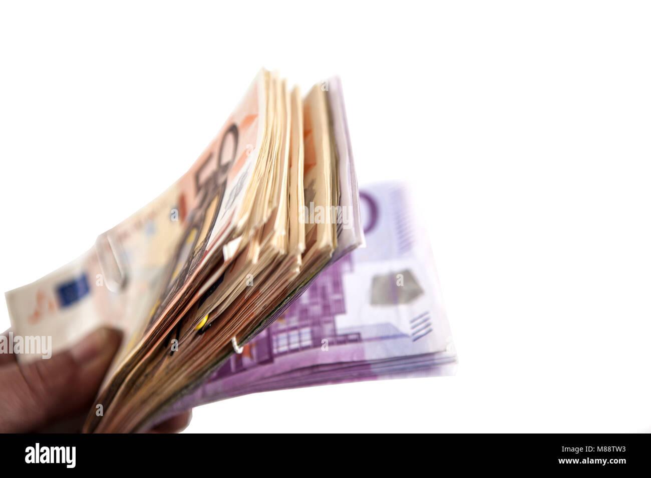 Geldbündel mit Banknoten in Euro Stock Photo