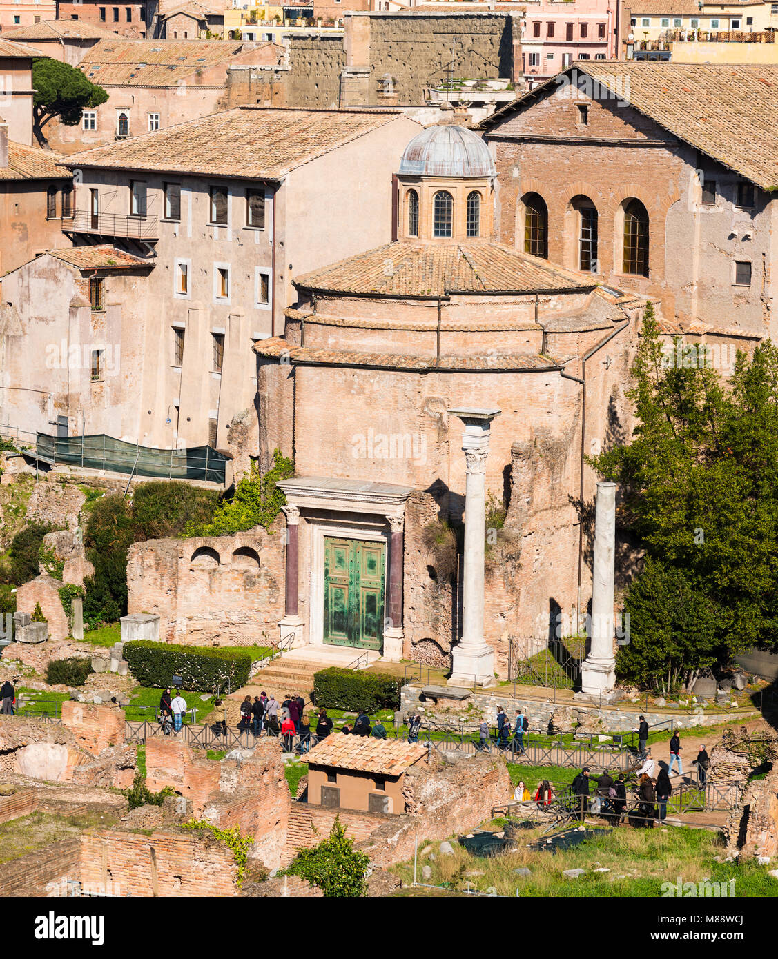 Ancient Rome city skyline with Santi Cosma e Damiano church at the Roman Forum. Rome. Lazio. Italy. - Stock Image