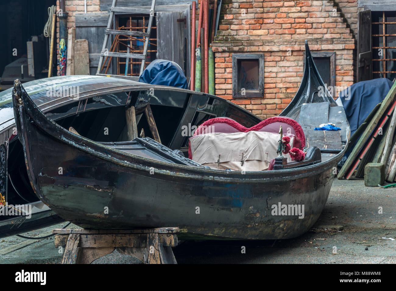 Gondelwerft in Venedig - Stock Image
