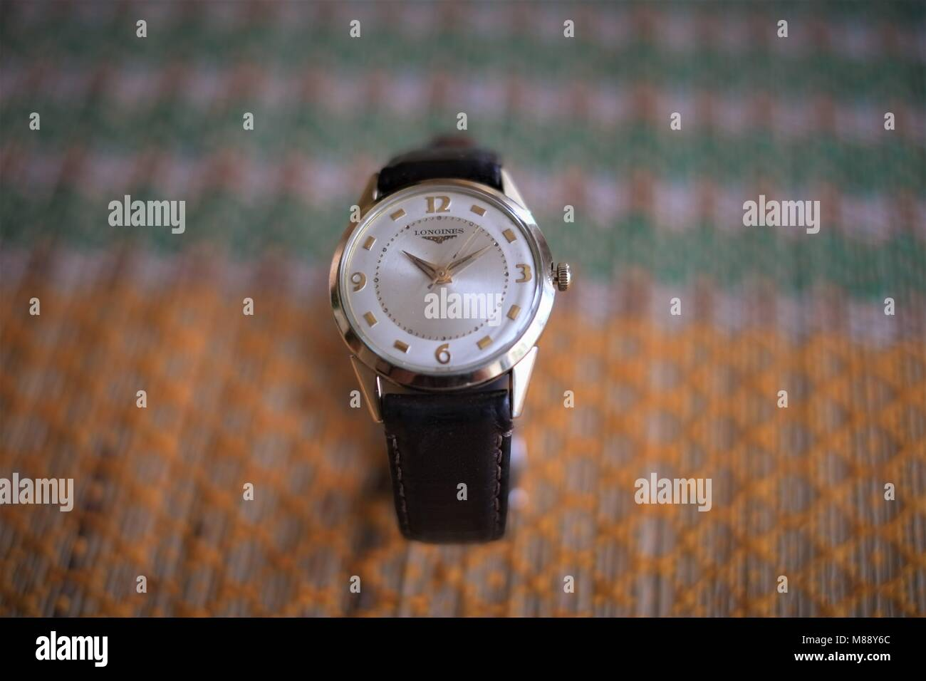 Close-up of vintage Longines men's wristwatch - Stock Image