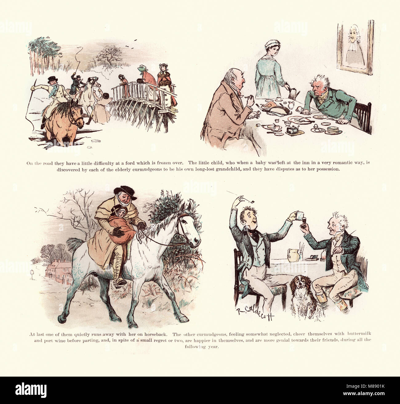 Victorian Illustration from The curmudgeons christmas by  Randolph Caldecott, 19th Century - Stock Image