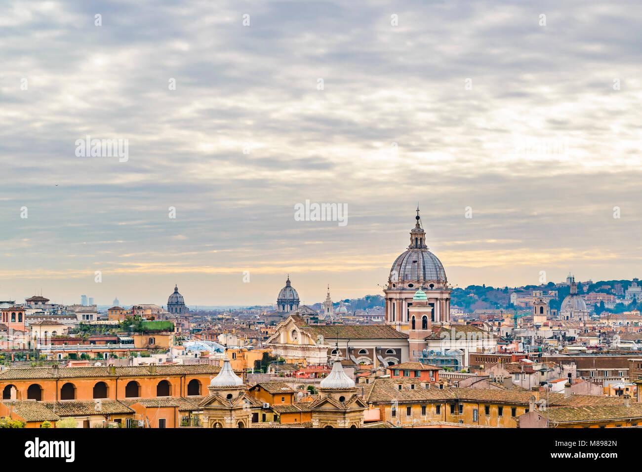 Winter season rome aerial view from monte pincio viewpoint at Villa Borghese - Stock Image