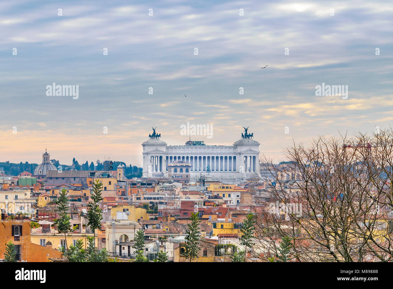 Winter season rome aerial view from monte pincio viewpoint with vittorio emanuele monument at background - Stock Image