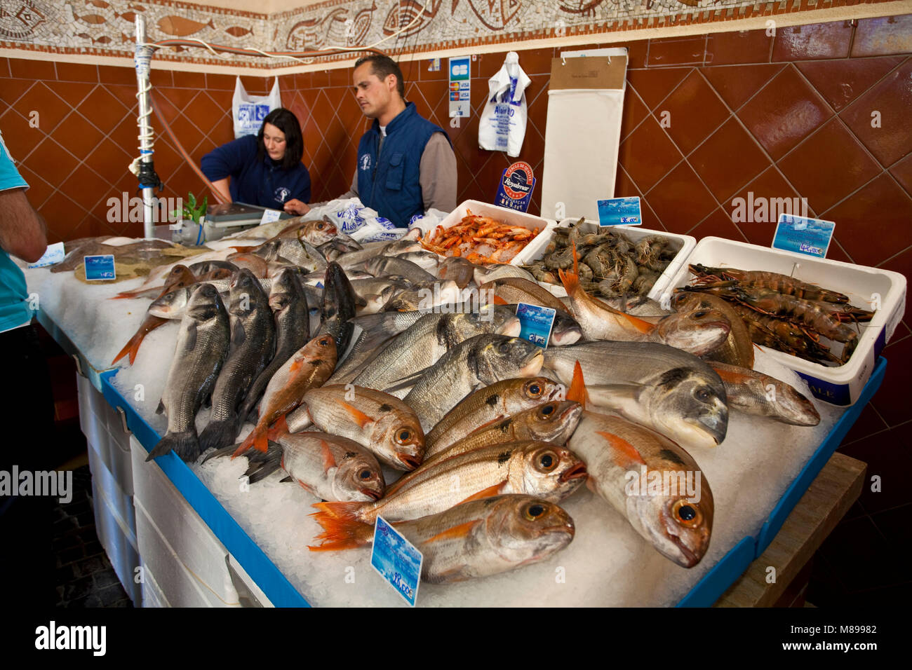 Poissonerie, a fish shop at Place aux Herbes, old town of Saint-Tropez, french riviera, South France, Cote d'Azur, - Stock Image