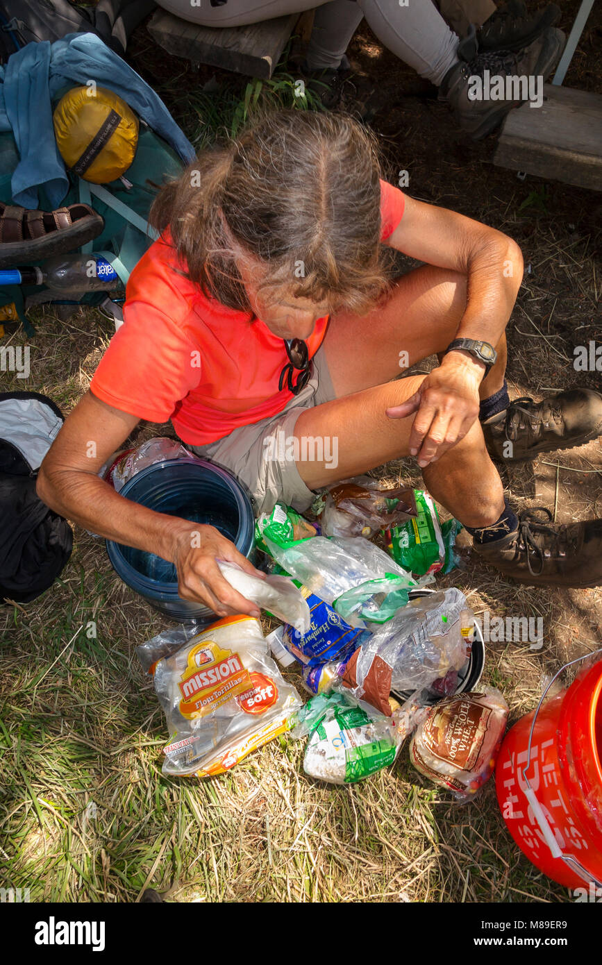 CA03371-00...CALIFORNIA- Vicky Spring sorting out the resuply food that was shiped ahead to the Muir Ranch a comon - Stock Image