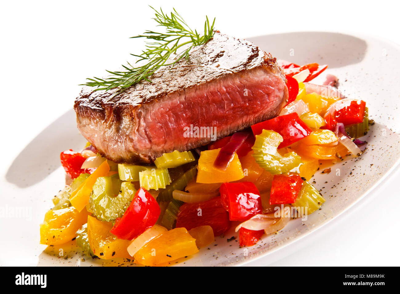 Grilled steak and vegetable salad Stock Photo