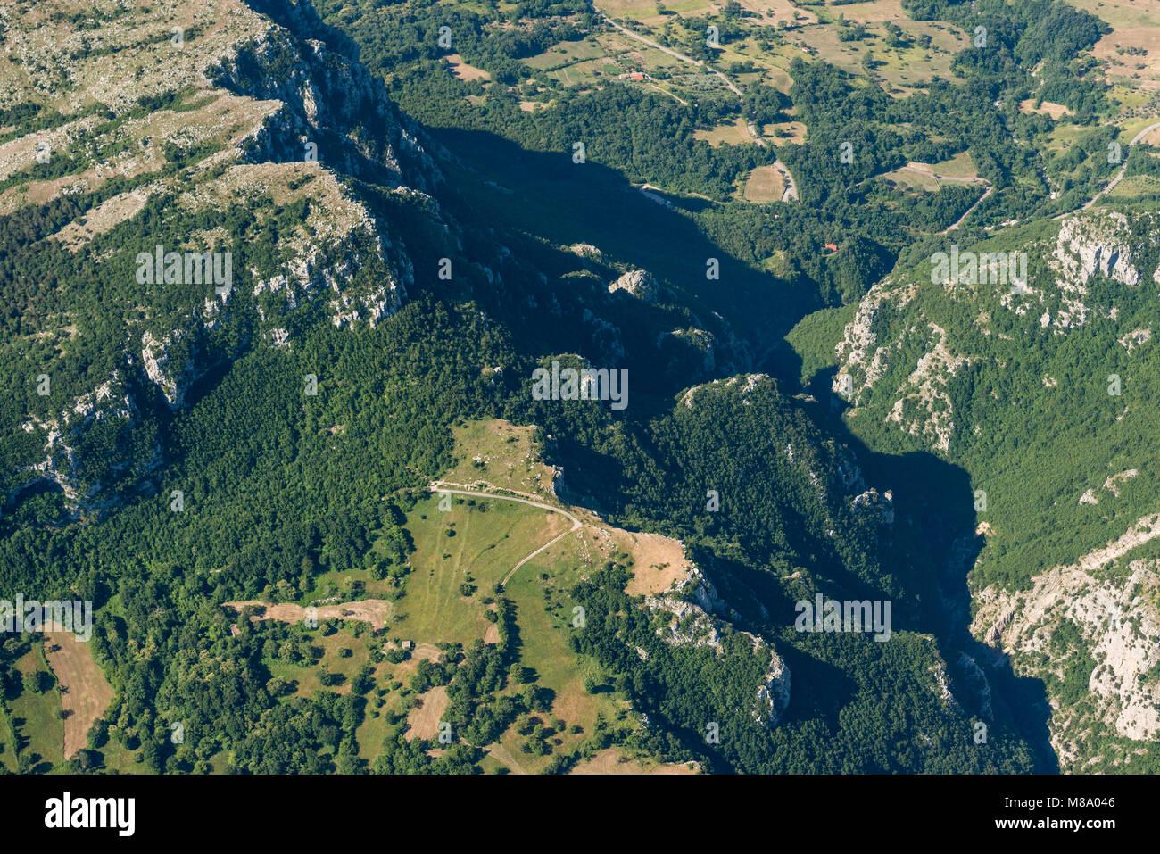 Aerial image panorama of mountain landscape near Pietraroja, Monte Nutria in the Apennines mountains - Stock Image
