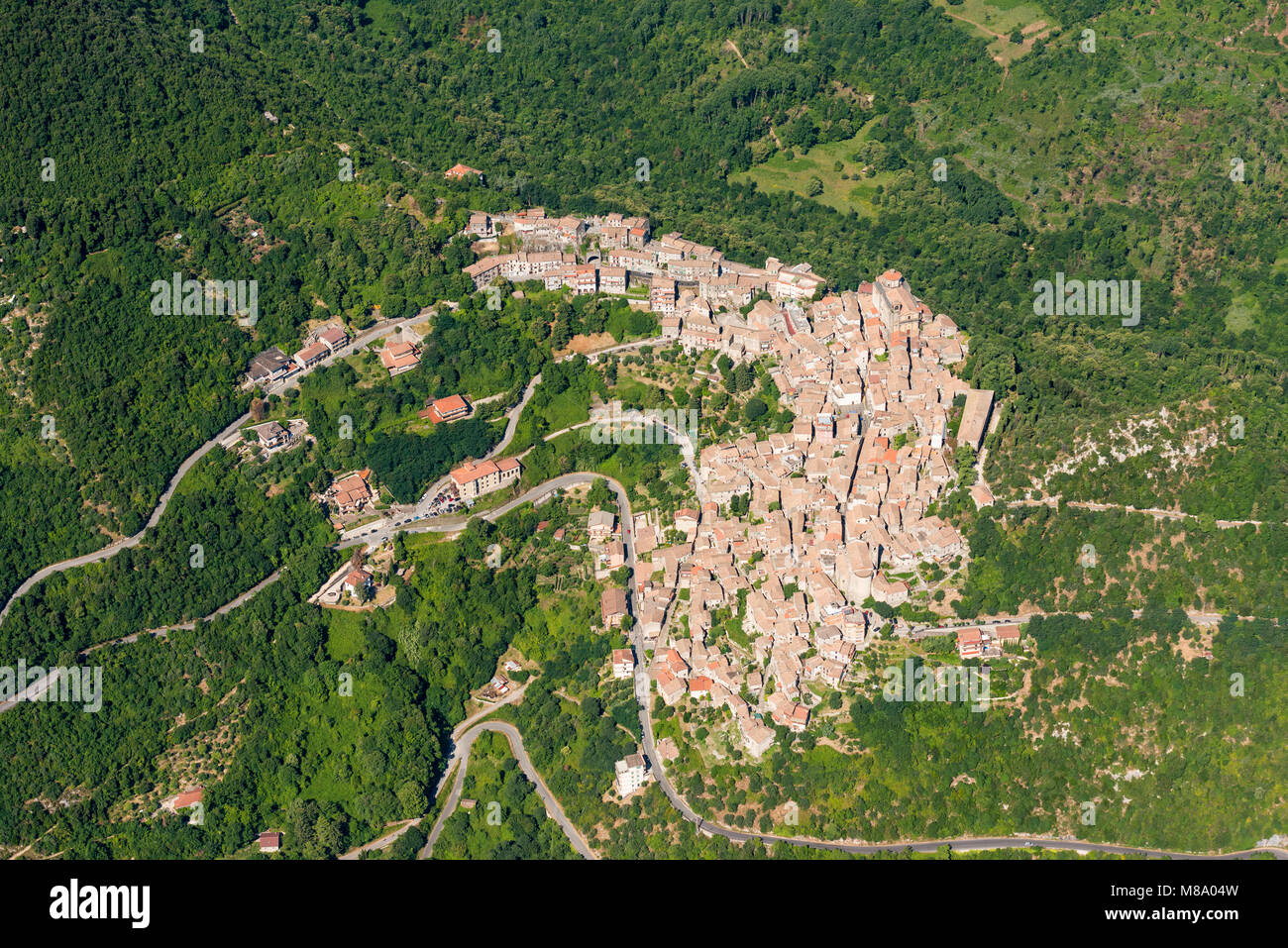 Aerial image of the village of Patrica surrounded by forests in the Lazio region of Italy, Province of Frosinone Stock Photo
