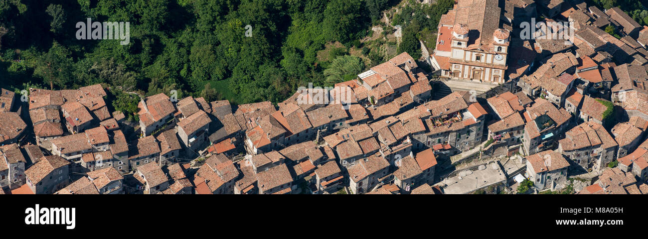Aerial image of the town of Artena in the Metropolitan City of Rome, Italy Stock Photo