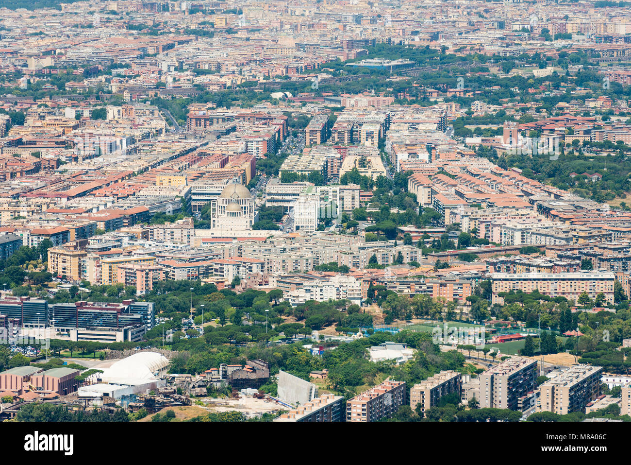 Aerial overview image of the centre of Rome city, Italy - Stock Image