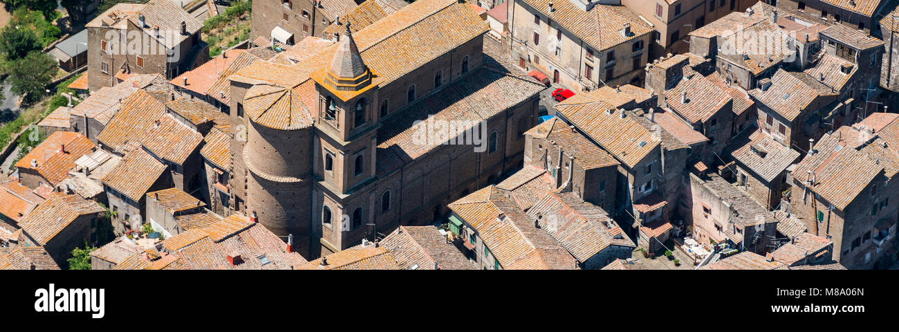 Aerial panorama image of the church and old part of Capranica town in Province of Viterbo, Lazio region - Stock Image