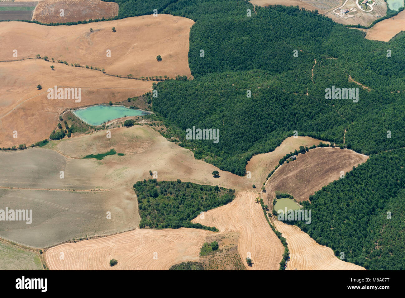 Aerial image of the countryside between Tuscania and Viterbo, typical for the Viterbo province Stock Photo