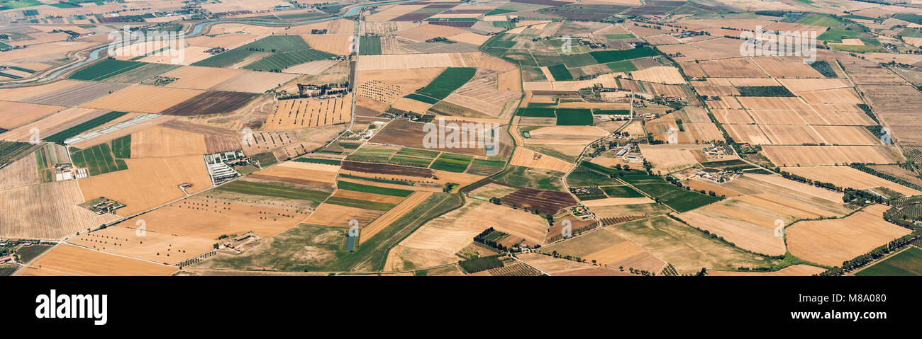 Aerial image of the countryside between Tuscania and Viterbo, typical for the Viterbo province - Stock Image