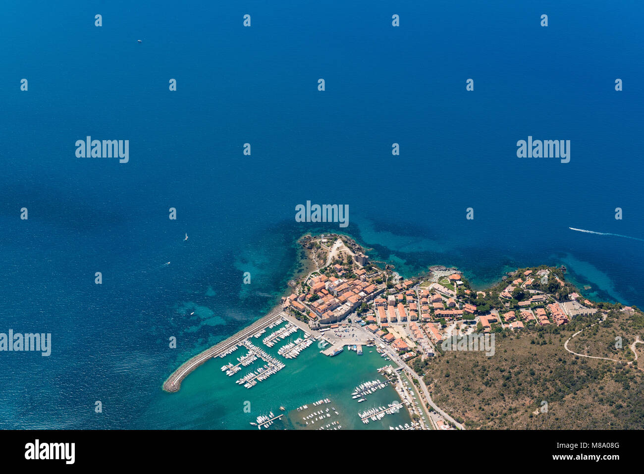 Aerial image of the beautiful town and small port of Talamone at the Tuscany Mediterranean coast in Italy Stock Photo