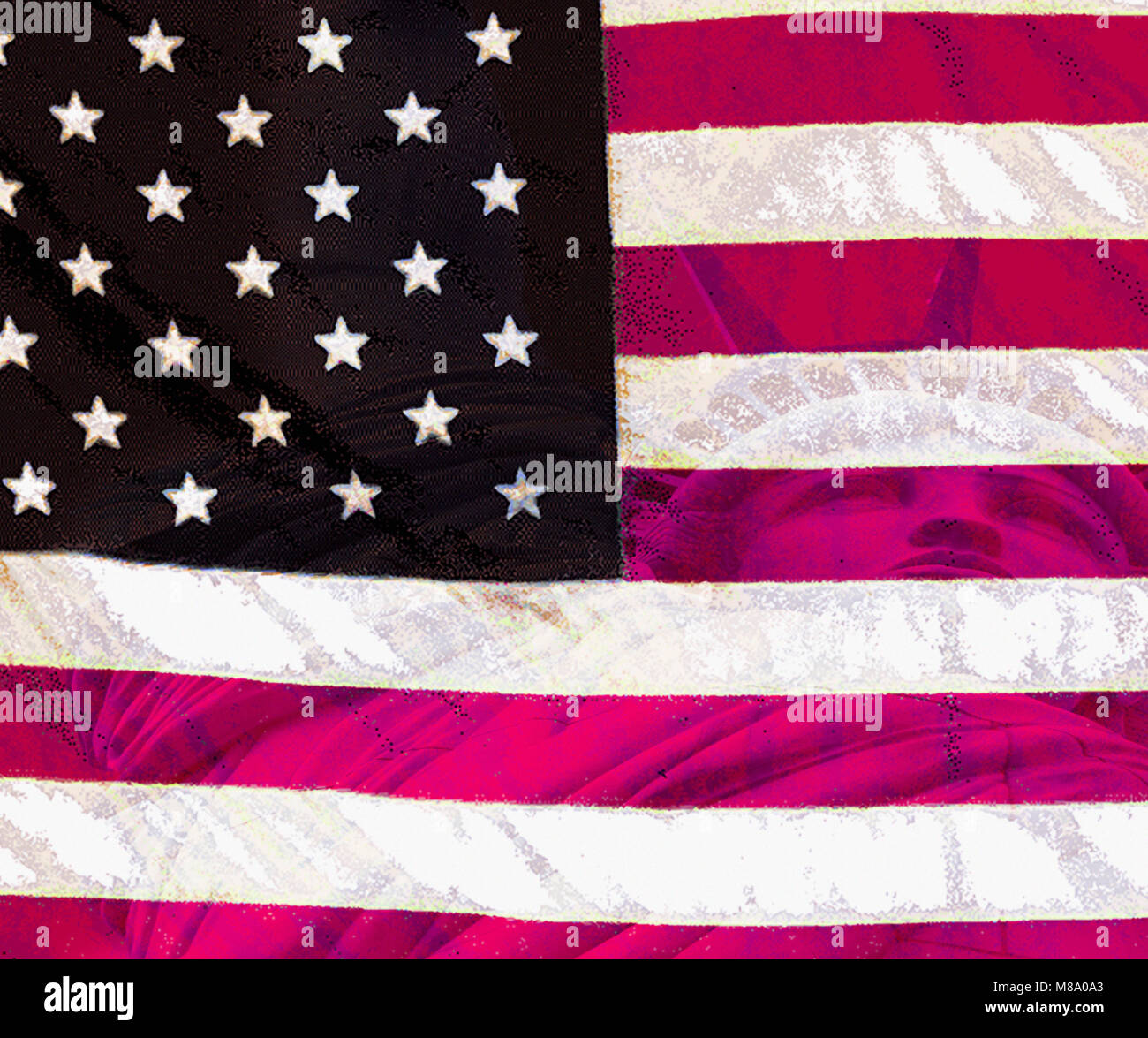 Primative American Flag with the Statue of Liberty superimposed - Stock Image