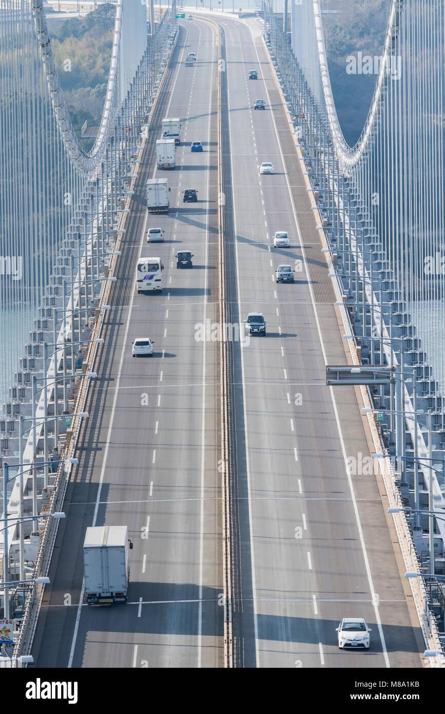 Great Seto Bridge view from Mt.Washu, Kurashiki City, Okayama Prefecture, Japan. - Stock Image