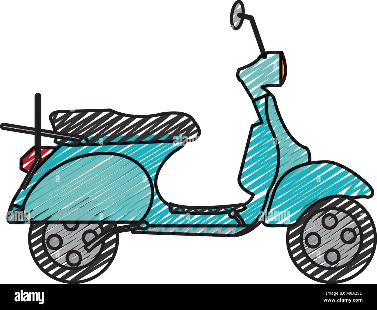 doodle motocycle transportation travel with mirror and wheels - Stock Vector