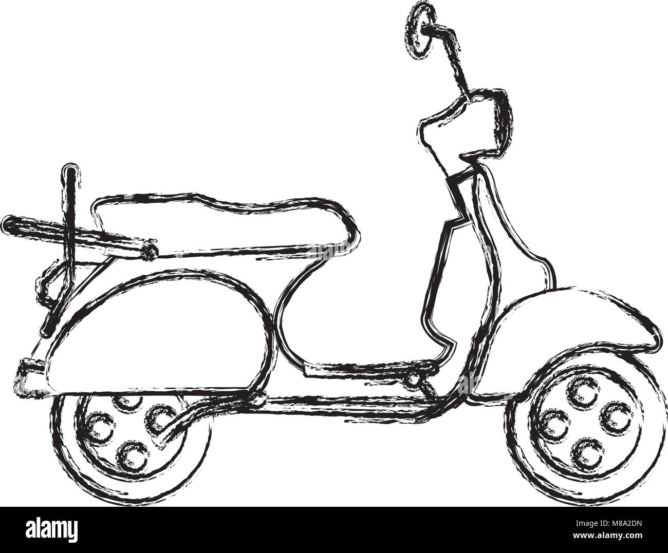 grunge motocycle transportation travel with mirror and wheels - Stock Vector