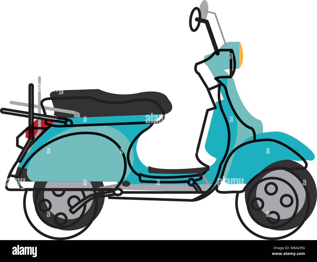 moved color motocycle transportation travel with mirror and wheels - Stock Vector