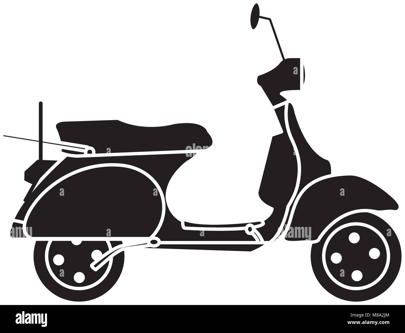 silhouette motocycle transportation travel with mirror and wheels - Stock Vector