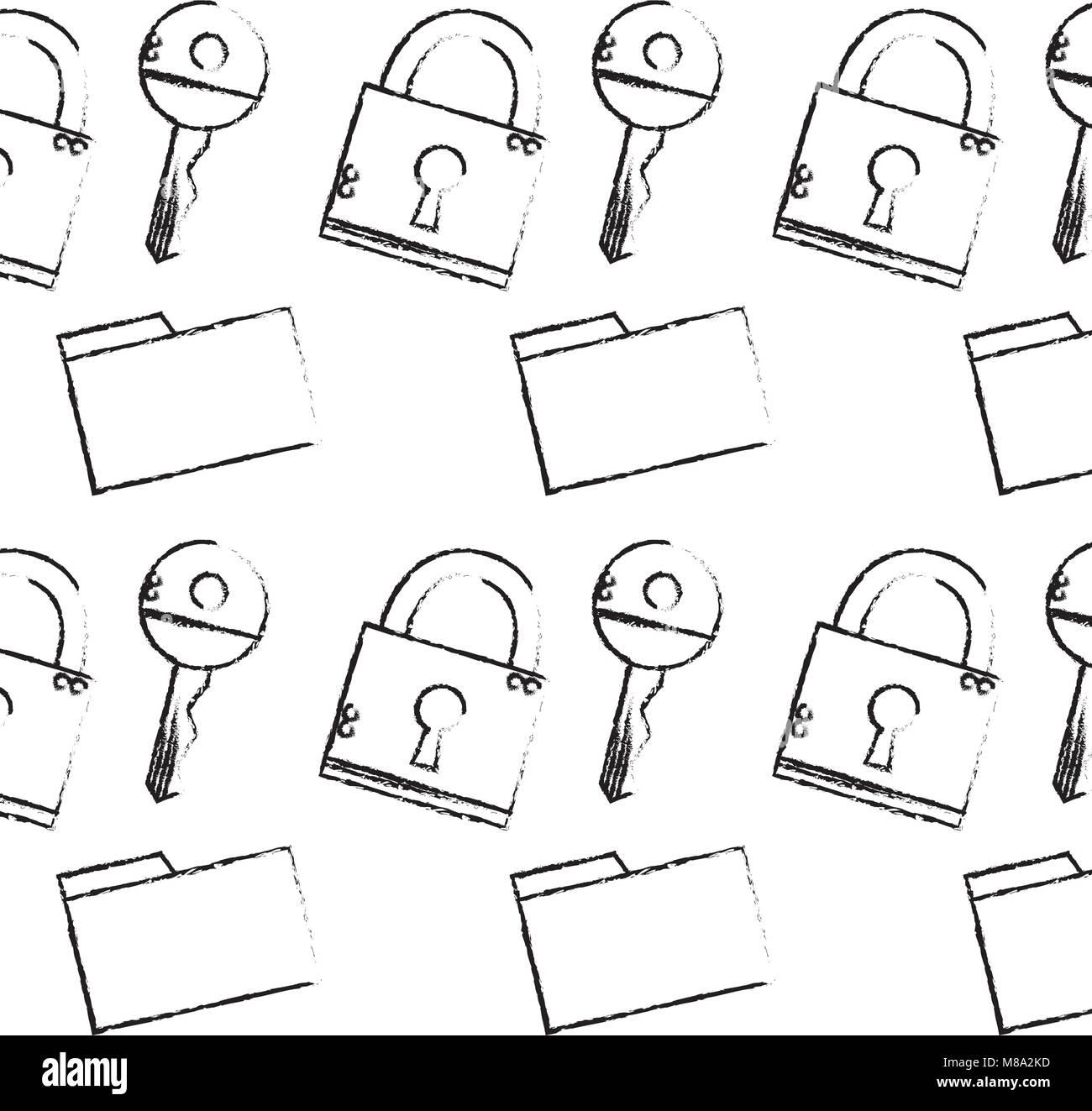 grunge close padlock security and file folder background - Stock Image