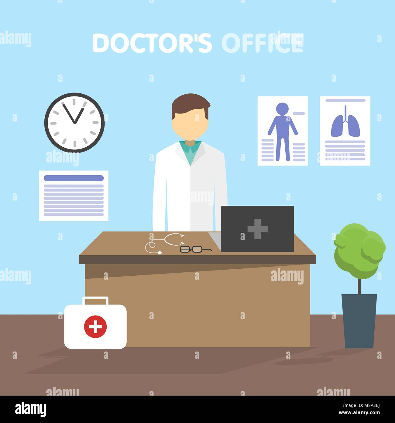 Workplace doctor, vector illustration Stock Vector