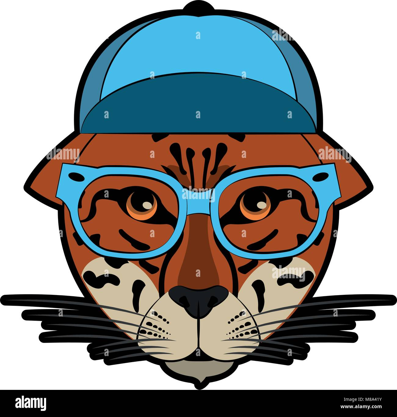 cool hipster leopard head cartoon vector illustration graphic design rh alamy com free cook vector cool vector art sites