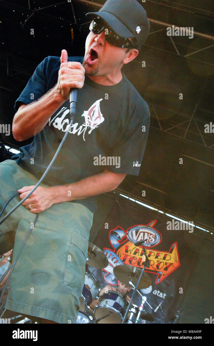 Jim Lindberg of Pennywise performs on stage during the Vans Warped Tour 2007. Stock Photo