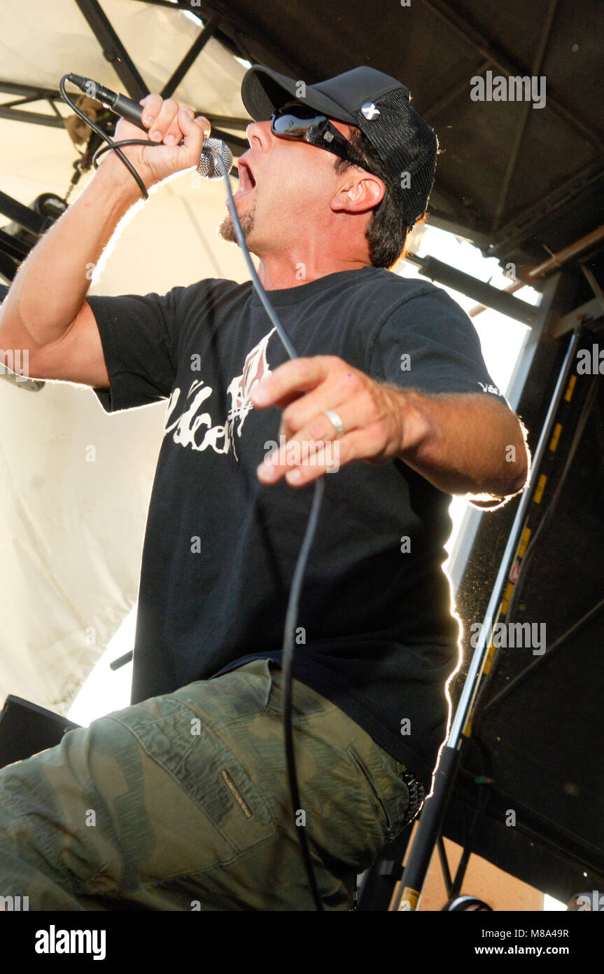 Jim Lindberg of Pennywise performs on stage during the Vans Warped Tour 2007. - Stock Image
