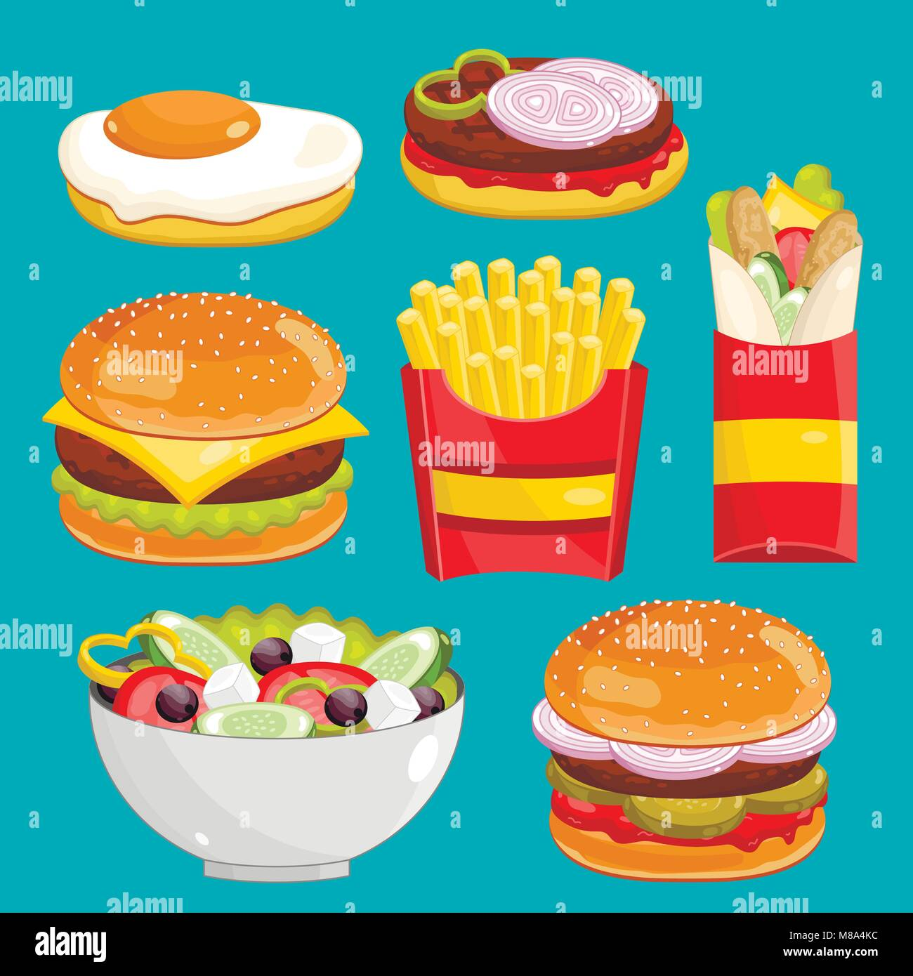 Fast food menu set, vector illustration - Stock Vector