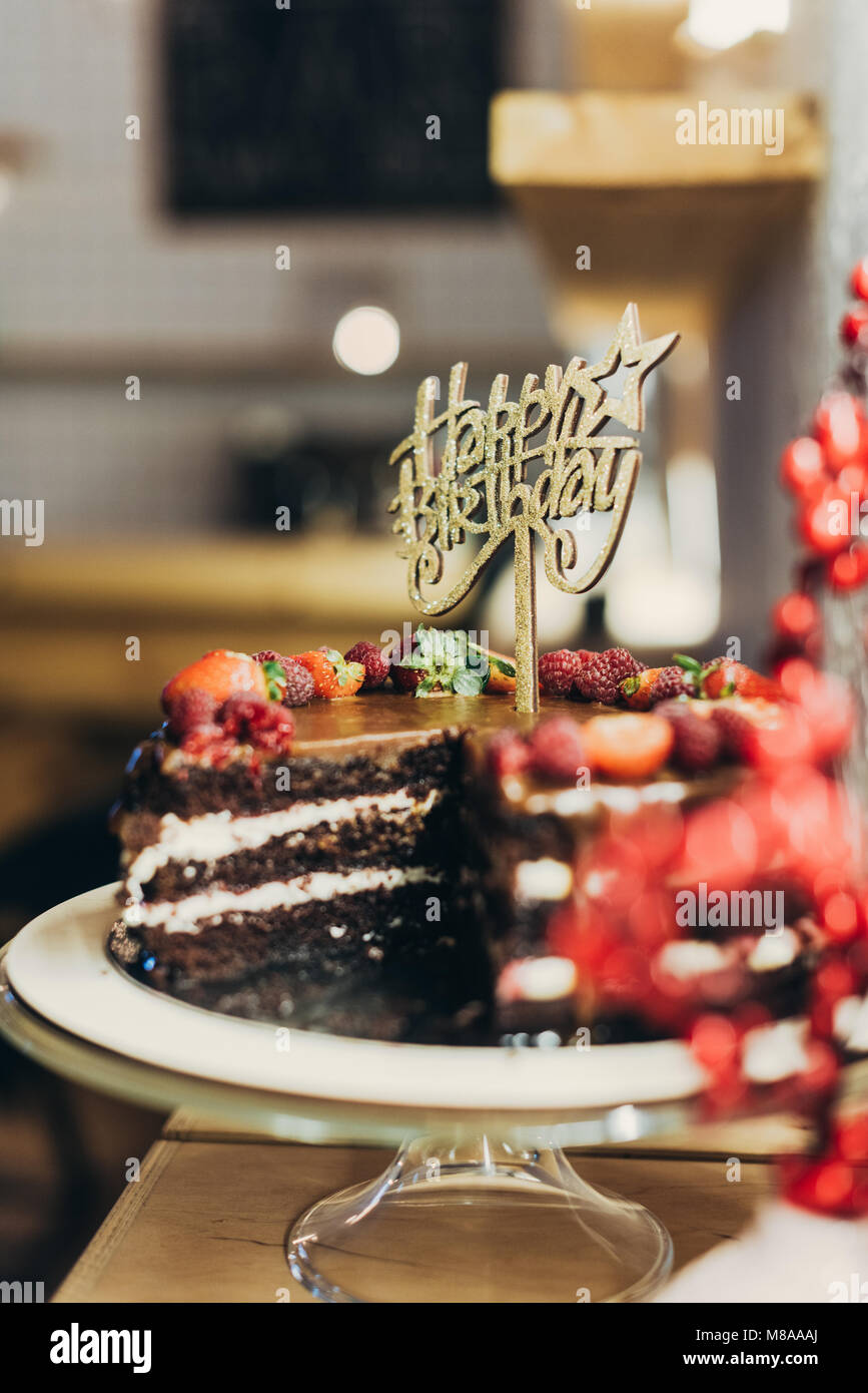 Happy Birthday Cake - Stock Image